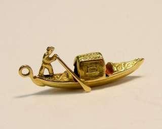 VINTAGE 18K YELLOW GOLD ITALIAN ENAMEL GONDOLA BOAT 3D CHARM *