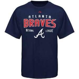 Atlanta Braves Navy Blue Base Knock T shirt