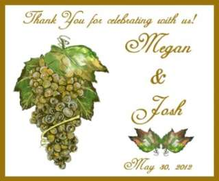 24 Personalized White Grapes Wedding Wine Bottle Labels