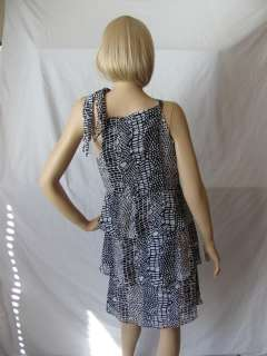 New BCBG MAX AZRIA Black White Poly Dress Medium M NWT