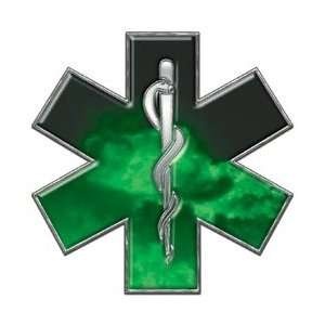 Star of Life EMT EMS Fire Green 4 Reflective Decal Automotive