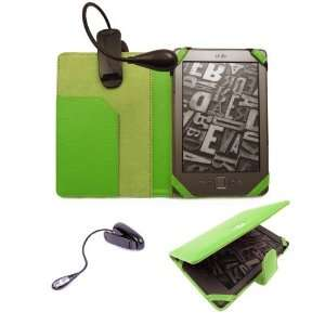 New Kindle Green Folio Case Cover Wallet with FREE LED