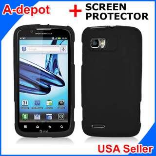 Motorola Atrix 2 MB865 AT&T Black Rubberized Hard Case Cover + Screen