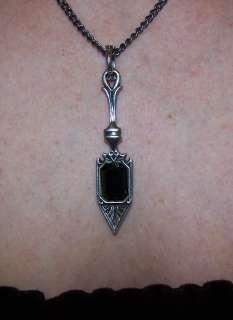 Absinthe Spoon Pendant Necklace Emerald Green Swarovski Crystal Sugar