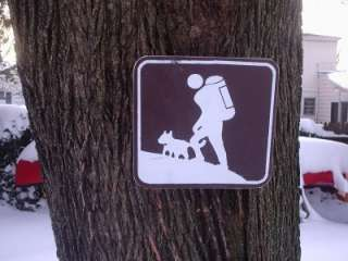 HIKING TRAIL with Dog Wood painted Trail Marker Sign