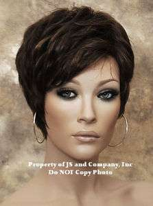 100% Human Hair Short Pixie curly and full fringe wig Brown mix