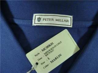New With Tags PETER MILLAR Mens Solid Blue Lisle Polo Golf Shirt