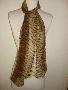 GLENTEX OBLONG SCARF WRAP HONEY BROWN SHINY ZEBRA PRINT