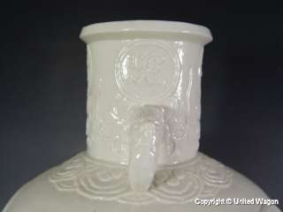 RARE CHINESE WHITE PORCELAIN VASE 20 w KWAN YIN IN RELIEF