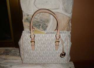 MICHAEL KORS MEDIUM VANILLA LOGO WORK TOTE AND MATCHING WALLET NWT