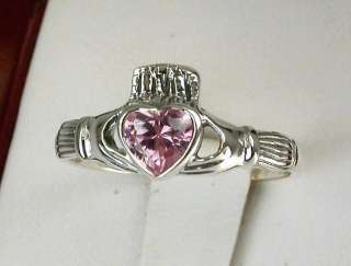 STERLING SILVER PINK CZ CLADDAUGH RING size 9