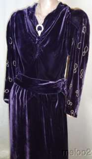 GORGEOUS 30s DECO PURPLE SILK VELVET DRESS w/JEWELS LG