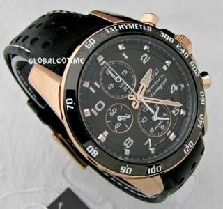 SEIKO MEN WATCH ROSE GOLD SPORTURA BLACK DIAL VENTED LEATHER STRAP