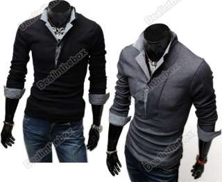 Fashion Men Stylish Polo shirts Slim Fit long Sleeve Casual T Shirt