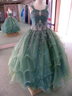 UNIQUE FASHIONS 1071 Jade Size 6 GIRLS NATIONAL PAGEANT GOWN GLITZY
