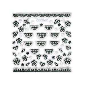 Iridescent Glitter White & Black Floral Lace Trim Doily Nail Stickers