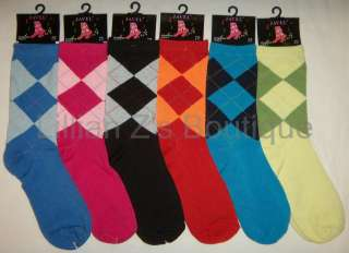 Lot of 6 Pairs Womens Quality Patterned Argyle Crew Socks   Casual