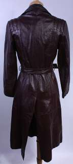 WOMENS VTG CUTE SOFT LEATHER MOD LONG BELTED COAT sz M