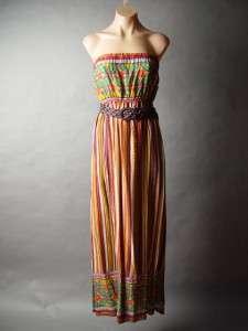 Tribal Island Print Empire Waist Belt Belted Long Maxi Dress S