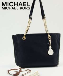 Michael Kors MK Black Large Jet Set Chain E/W Tote Leather Handbag Bag