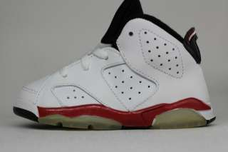 Nike Air Jordan Retro 6 TD Bulls White Scarlet Red Toddler Sneakers
