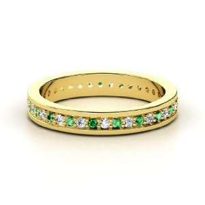Brianna Eternity Band, 14K Yellow Gold Ring with Emerald
