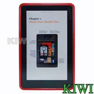Protector + Red X LINE TPU Soft Skin Case Cover For Kindle Fire