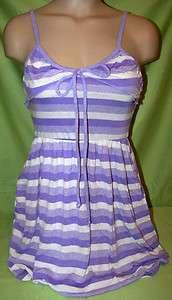 Kirra PACSUN girls juniors dress PURPLE WHITE striped   Size L   NWT