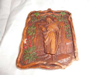 vtg SYROCO Jesus knocking at door plaque vines/leaves s