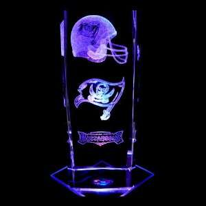 Tampa Bay Buccaneers 3D Laser Etched Crystal includes Two Separate LED