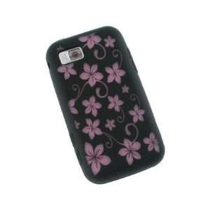 Black and Pink Flowers Design Laser Cut Silicone Case For