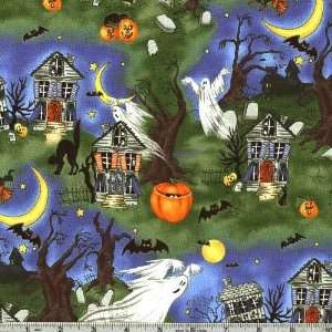 45 Wide Scary Night Ghost And Goblins Multi Fabric By