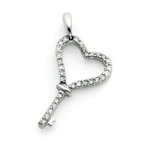 14k White Gold Heart Key Pendant with Diamond Jewelry