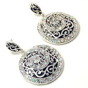 Aurora Borealis Rhinestone Round Spiral Design Dangle Earrings Fashion