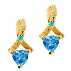 0.58 Ct Genuine Trillion Swiss Blue Topaz Gemstone 14k
