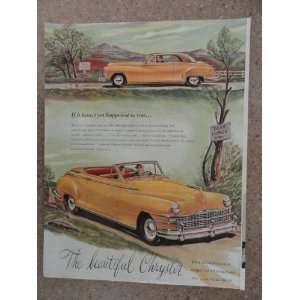 1946 Chrysler Convertible, Vintage 40s full page print ad. (beautiful