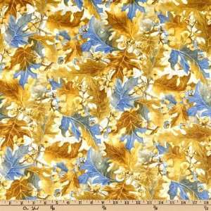 44 Wide Flora and Fauna Acorns & Leaves Medley Blue Fabric By The