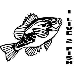 YELLOW PERCH   I LIVE 2 FISH   Wall ART   Vinyl Decal size