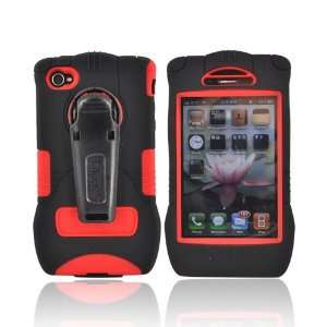 For Trident Kraken iPhone 4 Hard Case Cover BLACK RED