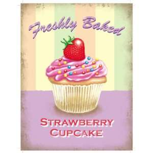 Freshly Baked Strawberry Cupcake   Vintage Style Enamelled Metal Sign
