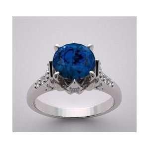 14k Beautiful White Gold Sapphire Diamond Ring Jewelry