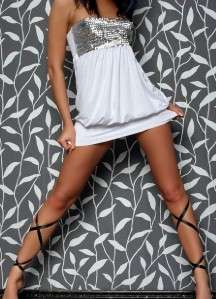 NEW SEXY CLUBWEAR WHITE STRAPLESS SEQUINS MINI DRESS 2203