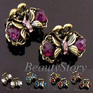 Item FREE SHIPPING 2 antiqued rhinestone crystal flower hair claw clip