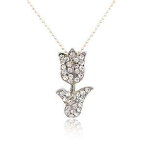 Crystal Tulip Flower Pendant Necklace Fashion Jewelry