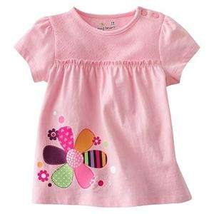 New Jumping Beans Toddler Girl Pink Shirt w Flower Sizes 12, 18, 24, 3