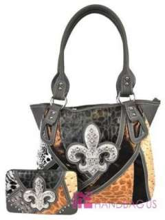 Gray Patchwork Fleur De Lis Rhinestone Fashion Hobo Bag Handbag Purse