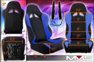 2x Universal Racing Car Seats Black Blue Grey Cloth New