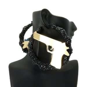 Rihanna Acrylic Bamboo Gun Earring Black Gold HE2006BKGD Jewelry