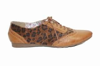 Oxford   I Womens Furry Leopard Print Oxford   Camel