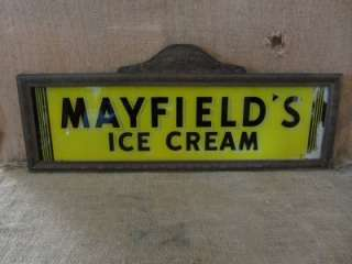 Vintage Mayfield Ice Cream Reverse Painted Glass Sign > Antique Old